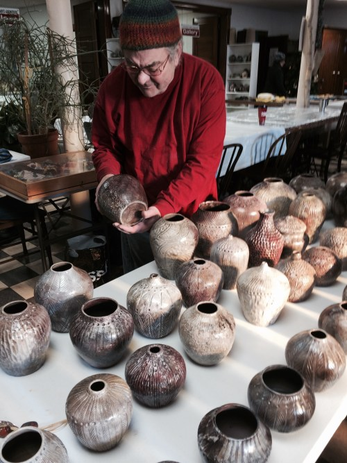 Ed with his pit-fired pots Dec 2014 -2