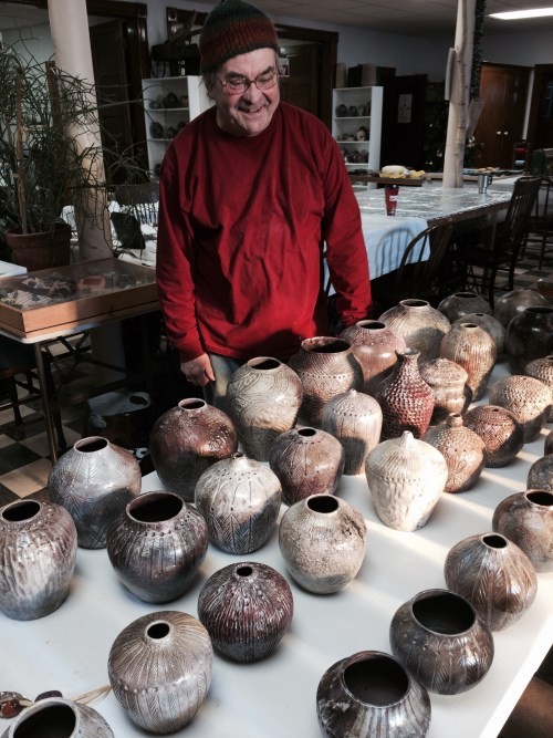 Ed with his pit-fired pots Dec 2014