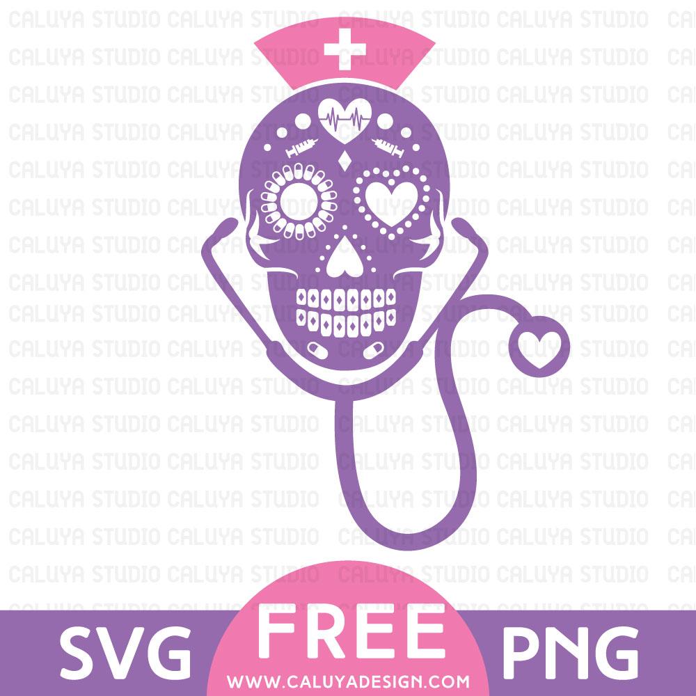 Download Sugar Skull Nurse Free SVG & PNG Download By Caluya Design