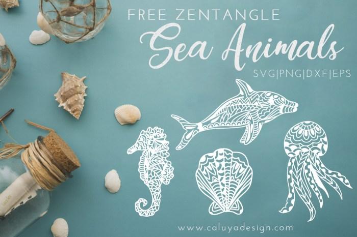 Zentangle Sea Animals Free SVG