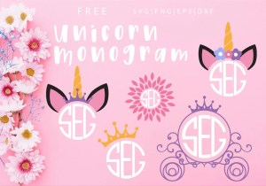 Unicorn Monogram Free SVG