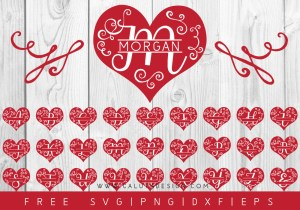 Heart Monogram FREE SVG