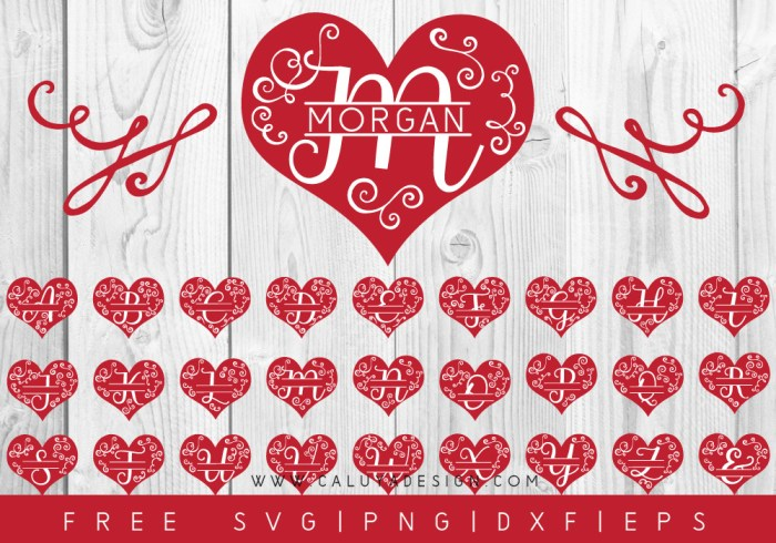Heart Monogram FREE SVG