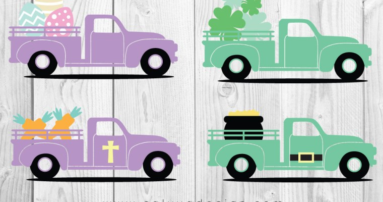 FREE Easter & St. Patrick's Day Truck SVG, PNG, EPS & DXF