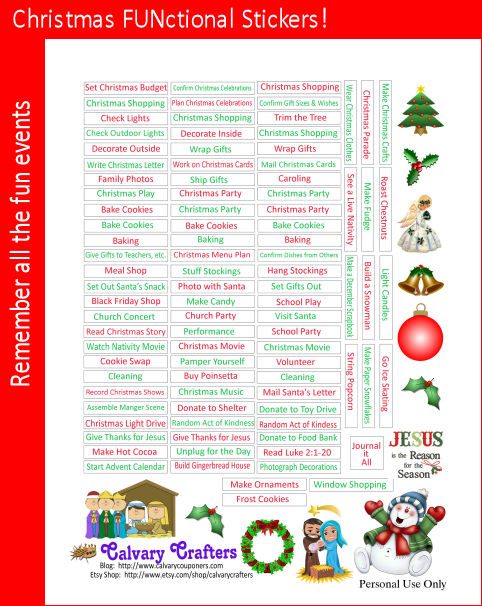 Christmas Functional Printable Planner stickers for the Classic-sized Happy Planner