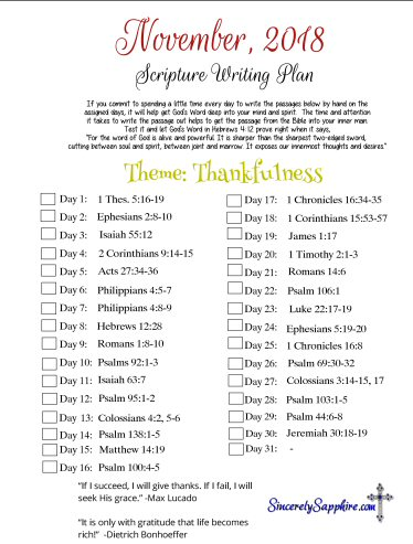 November, 2018 Scripture writing plan