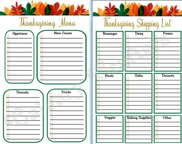 Thanksgiving planner preview 2