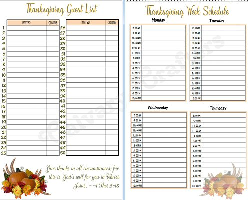Thanksgiving Planner preview 3