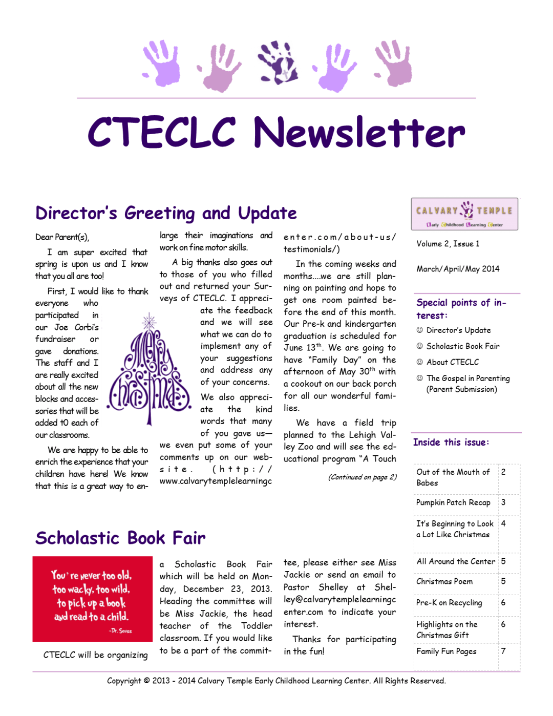 CTECLC March/April/May Newsletter 2014