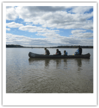 Canoe in river.