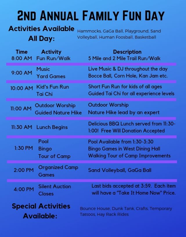 2019 Fun Day Schedule of Activities