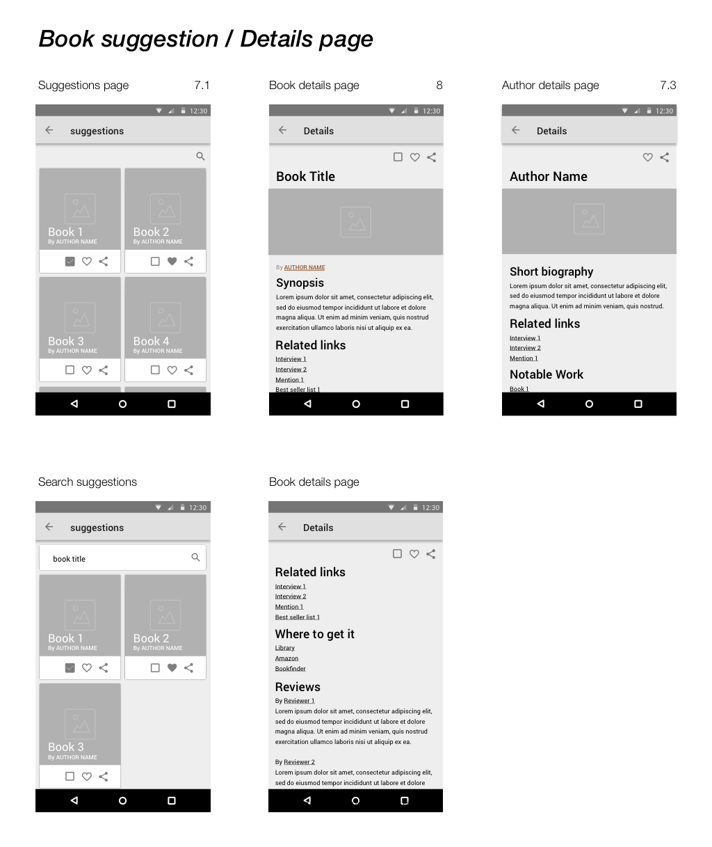 Suggestions/Details Wireframes