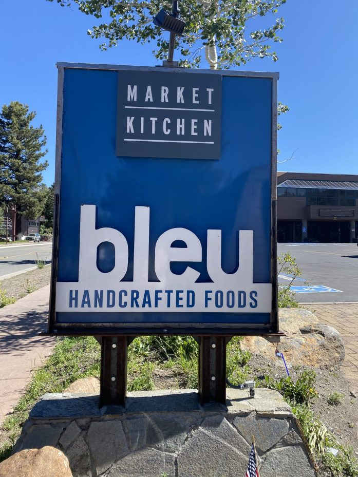 bleu handcrafted foods sign in mammoth lakes