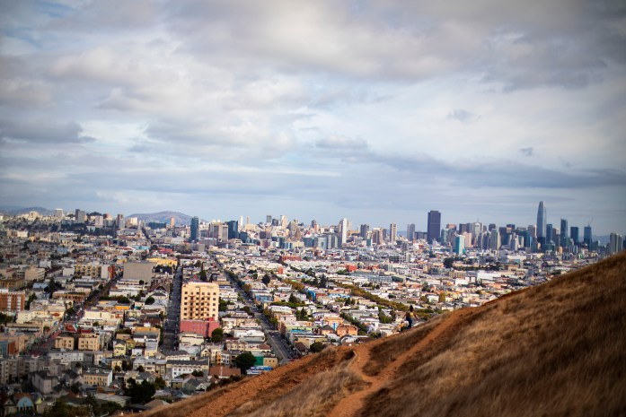 photo of san francisco from the top of bernal heights off leash dog park