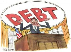 debt, obama, Christo Komarnitski, cagle, Nov. 11, 2013