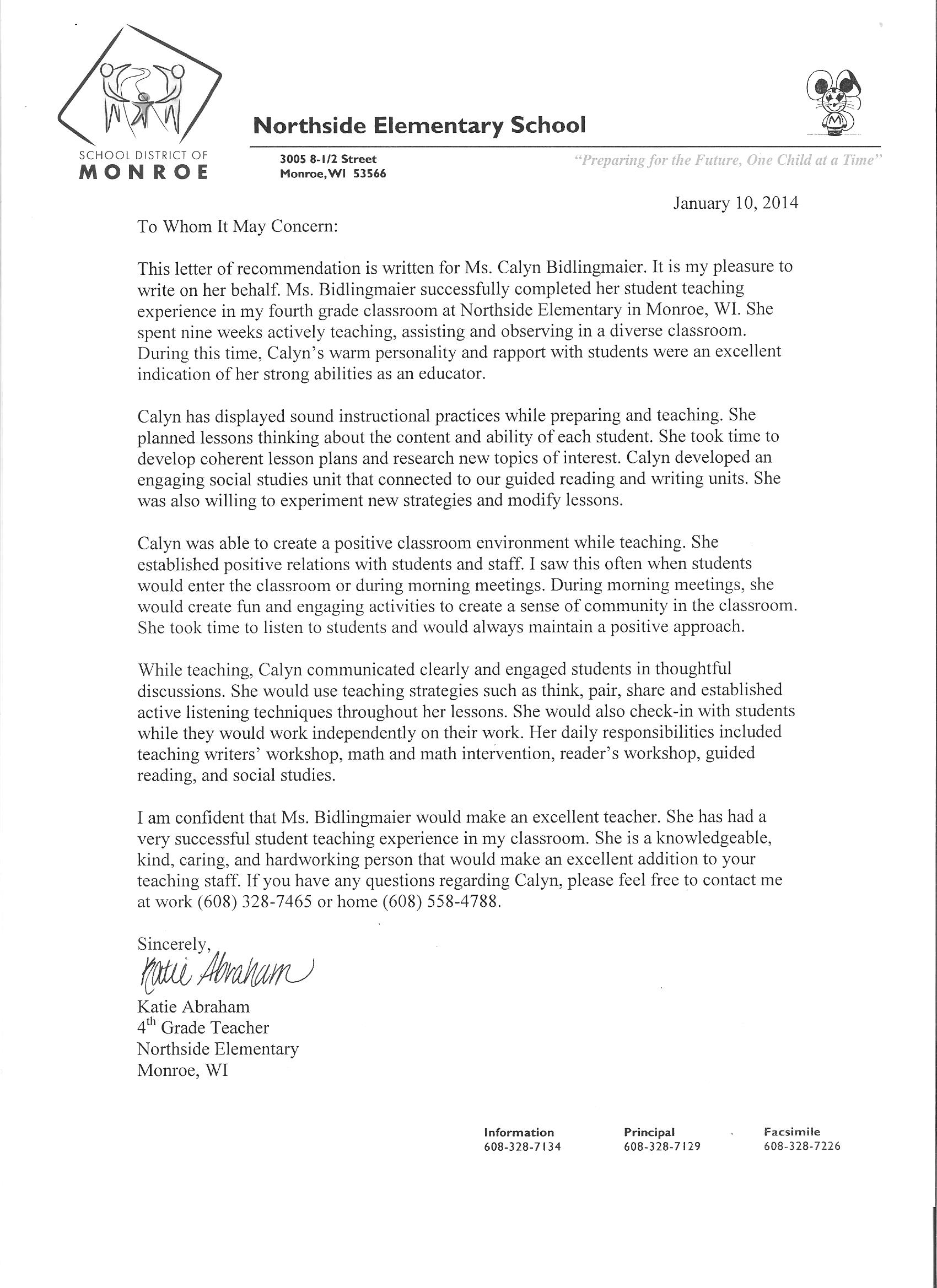 letter of recommendation for elementary student teacher from cooperating teacher