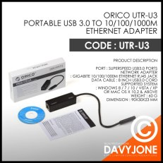 Orico UTR-U3 Portable USB 3.0 to 10/100/1000M Ethernet Adapter