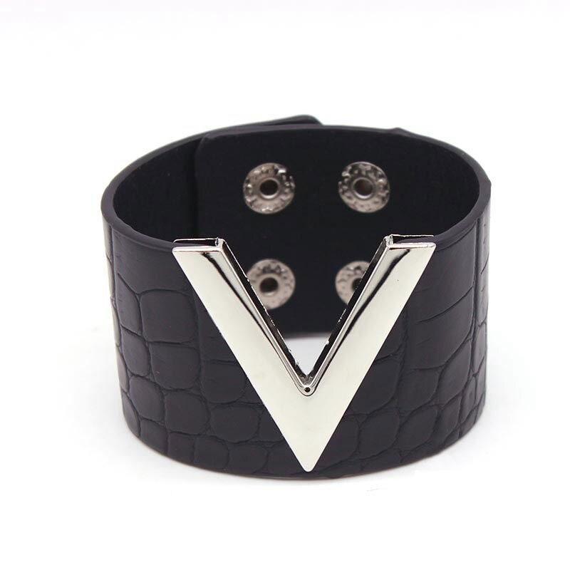 Bracelet Cuir Synthétique Noir