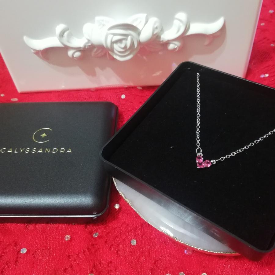 Collier en Argent Pendentif Coeur Serti de Zircons Roses