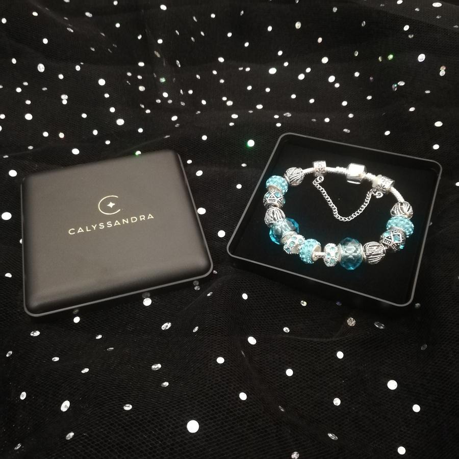 Bracelet Charms en Plaqué Argent et Cristal d'Autriche Bleu Turquoise