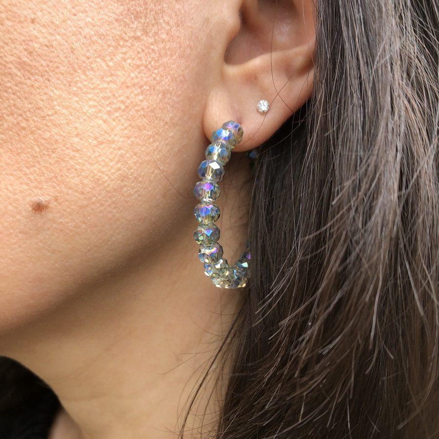 Créoles Perles Bleues