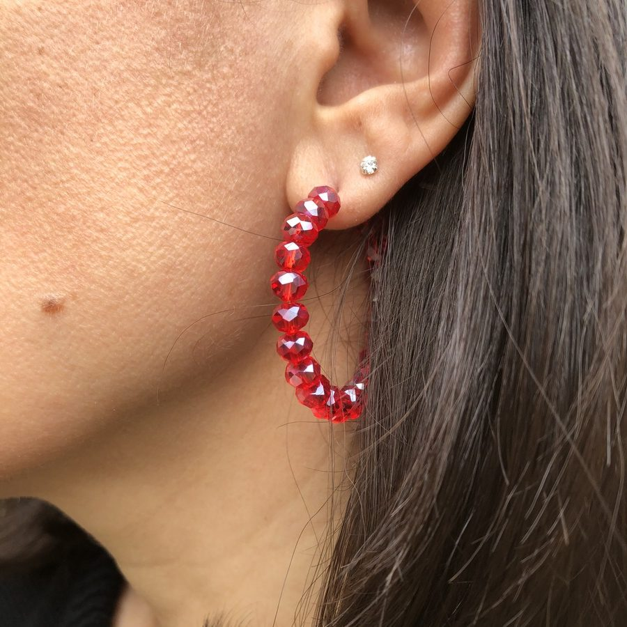 Créoles Perles Rouges