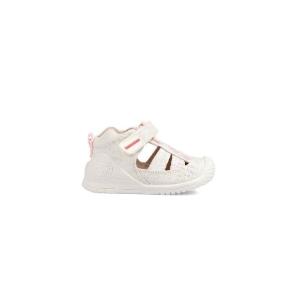 Cangrejeras de Lona bebé Anais blanca Biomecanics lado