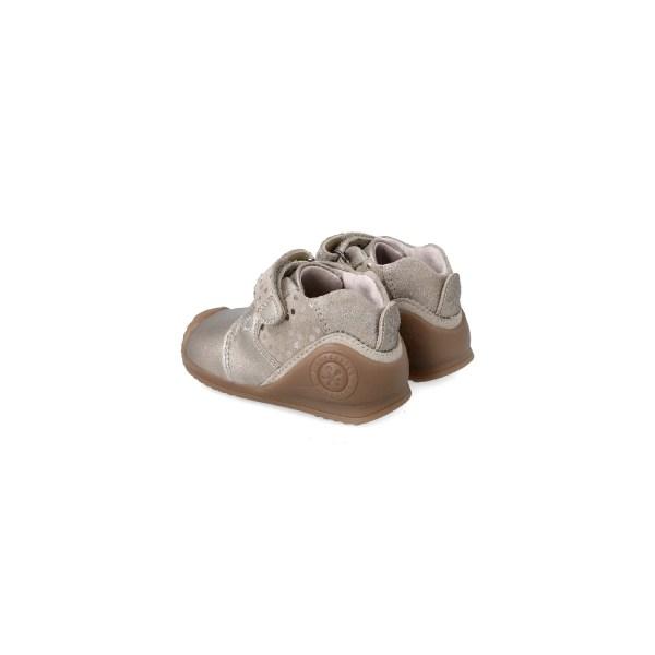 Botines Biomecanics para bebé niña Dasia dorado talón