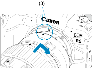 Canon : Product Manual : EOS R6 : Attaching/Detaching EF