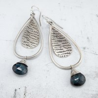 Blue Kyanite and silver drop earrings