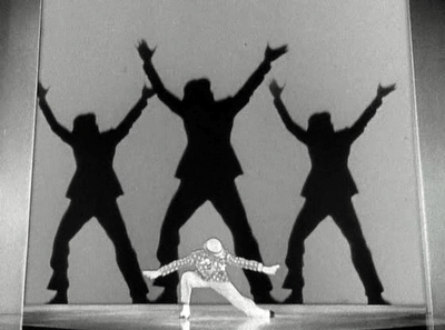 """Fred Astaire performing """"Bojangles in Harlem"""" number, where he dressed like a blackface minstrel and danced with his shadows to pay homage to Bill """"Bojangles"""" Robinson."""