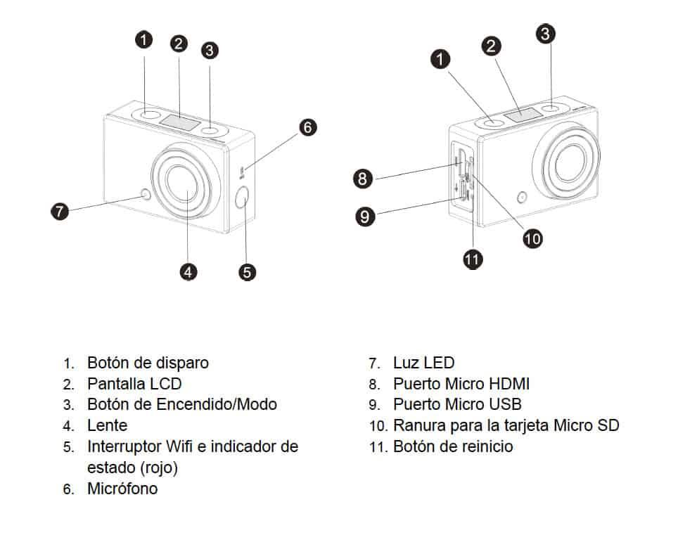 Easypix GoXtreme WIFI Control (cámara deportiva) controles