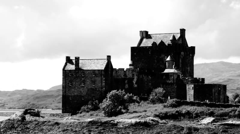 Foto en blanco y negro castillo Escocia