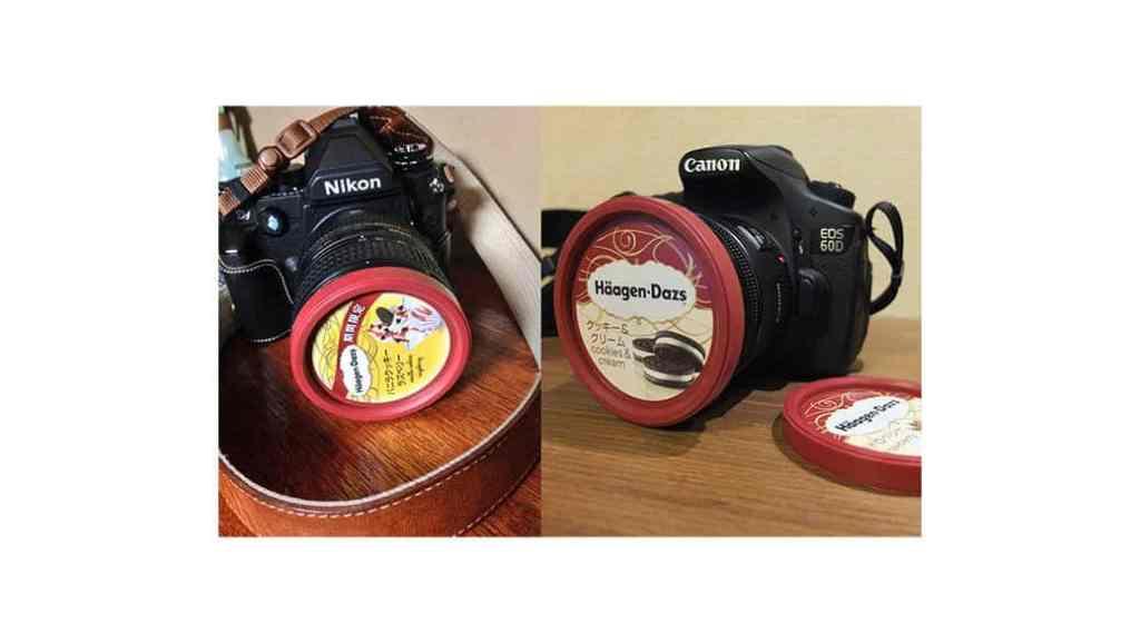 Las tapas de los helados Häagen-Dazs son las tapas perfectas para las lentes de 72mm