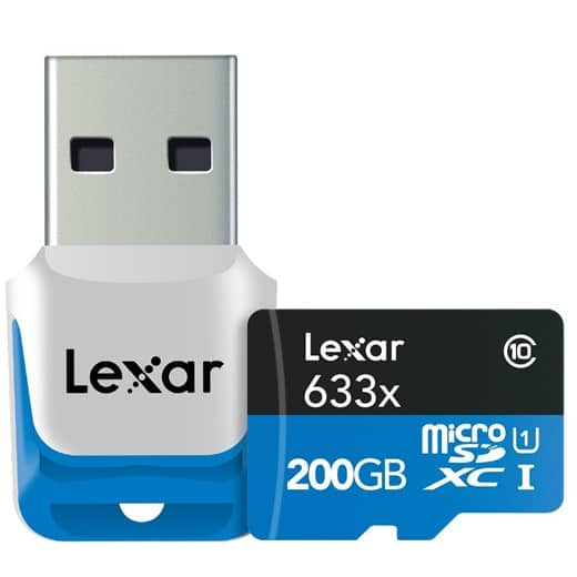 Una tarjeta microSD Class 10 con 200GB de almacenamiento de Lexar