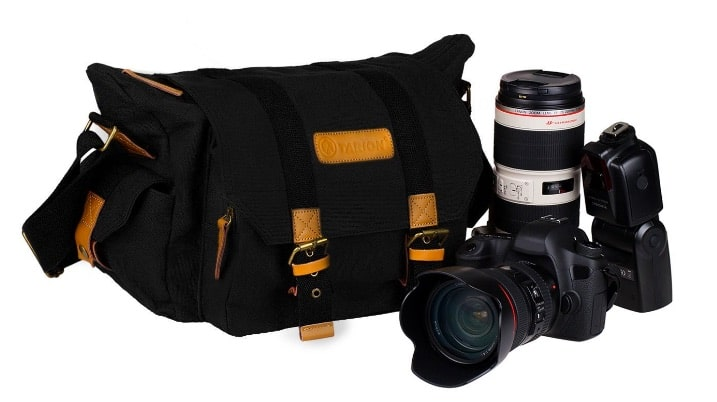 TARION Bolsa vintage moderna de lona para cámaras y lentes