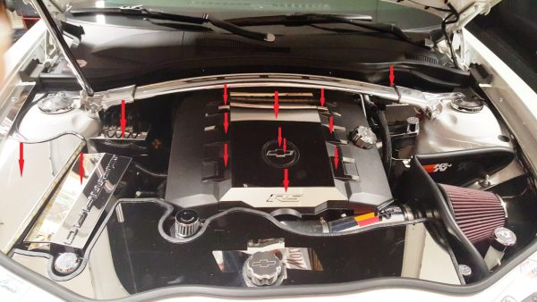 2010 – 2015 5th Gen Camaro V6 Engine Bay 8-Piece Kit