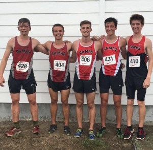 Runners pose for a picture after a grueling race at Seaside High School's Tree Course Challenge (left to right- Adam Jensen (Sr.), Jacob Bedont (Sr.), Seth Bradshaw (Sr.), Jack Kelly (Sr.), and Nick Carter (Sr.) )