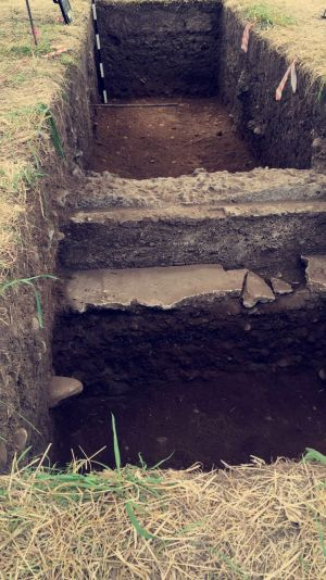 A concrete wall that cut across a unit at Fort Vancouver, during their summer excavation. Courtesy of Sophie Muro