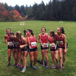 After finishing their last ever cross country race, seniors Lauren Johnston, Sophie Muro, Maddie Wight, Natalie Shergill, Rani Floyd, Jesikah Bass, and Bella Haaja celebrate