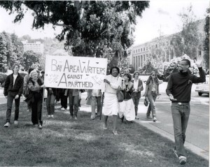 1985, Maya Angelou leading a protest 1985 to demand U.C. Berkeley divest from the apartheid government of South Africa.