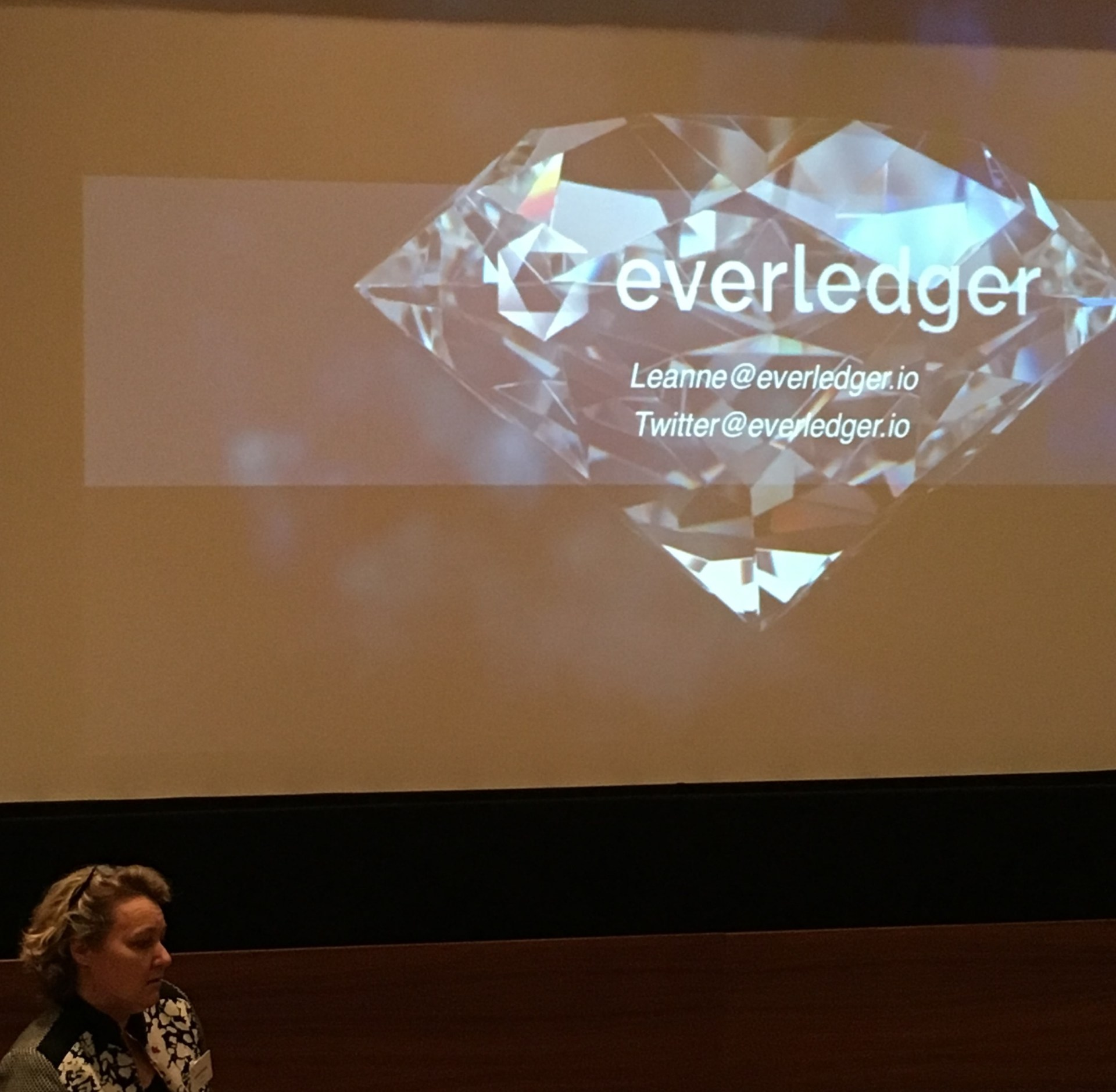 Leanne Kemp, CEO of Everledger, presents at IBM conference