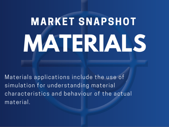 Materials applications include the use of simulation for understanding material characteristics and behaviour of the actual material.