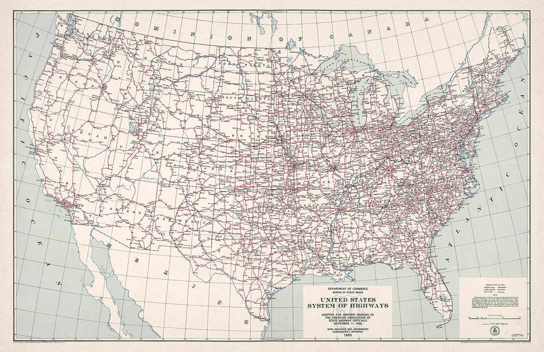 1950 us highway system map