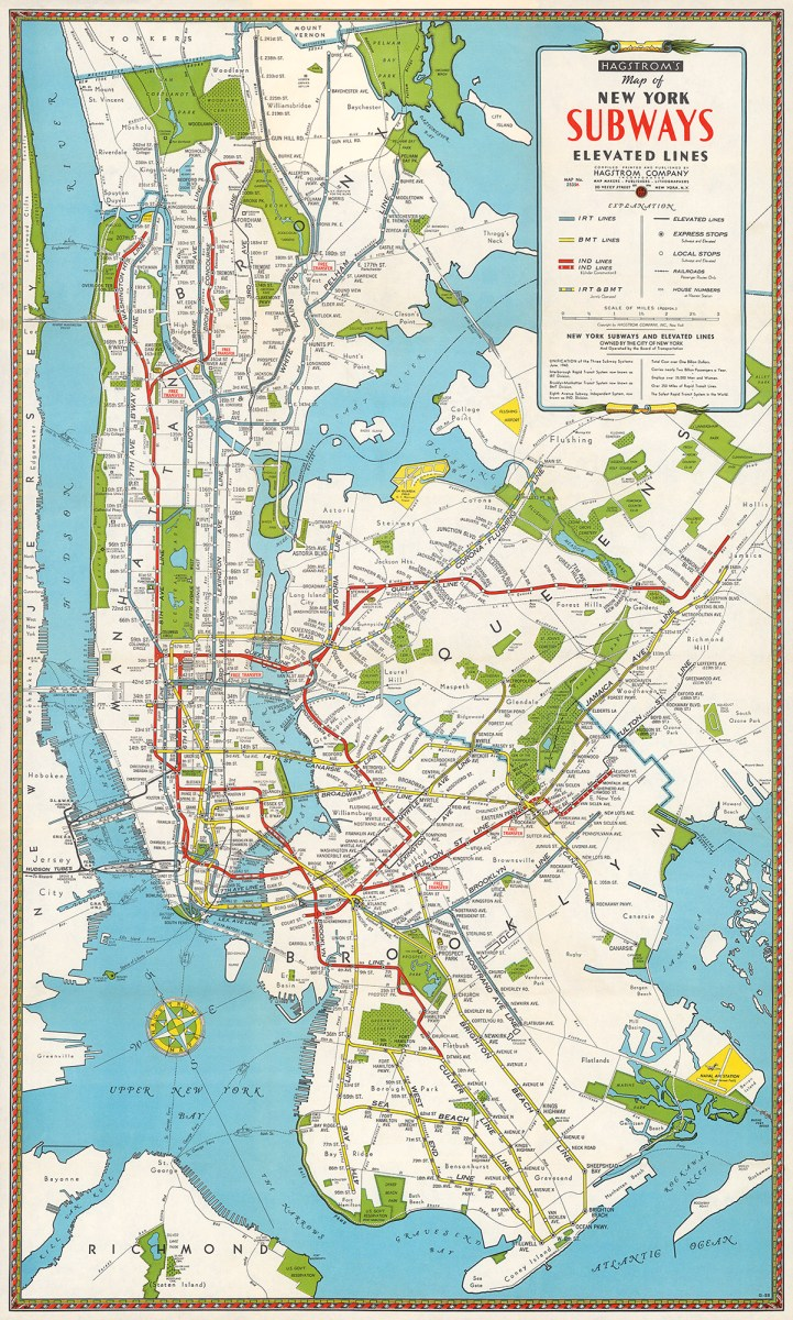 1946 Map of New York Subways & Elevated Lines – Transit Maps Store