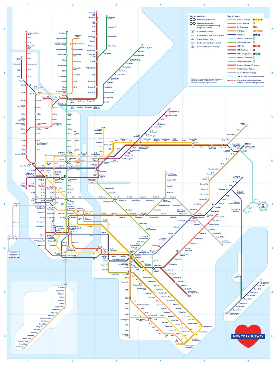 New York Subway Map in the Style of the London Underground Map ...