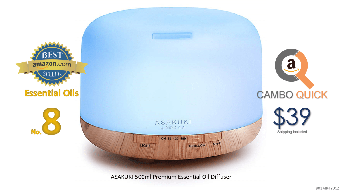 ASAKUKI 500ml Premium, Essential Oil Diffuser, 5 In 1 Ultrasonic Aromatherapy Fragrant Oil Vaporizer Humidifier, Timer and Auto-Off Safety Switch.png