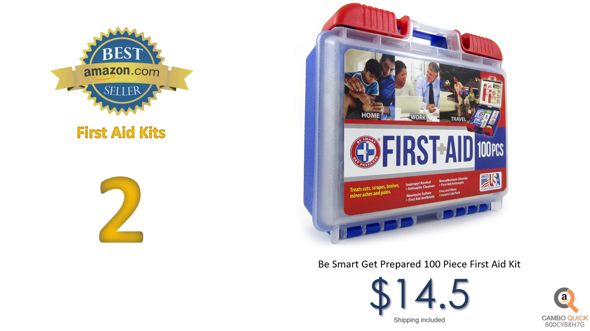 Be Smart Get Prepared 100 Piece First Aid Kit, Clean, Treat and Protect most injuries with the kit that is great for any home, office, vehicle, camping....png