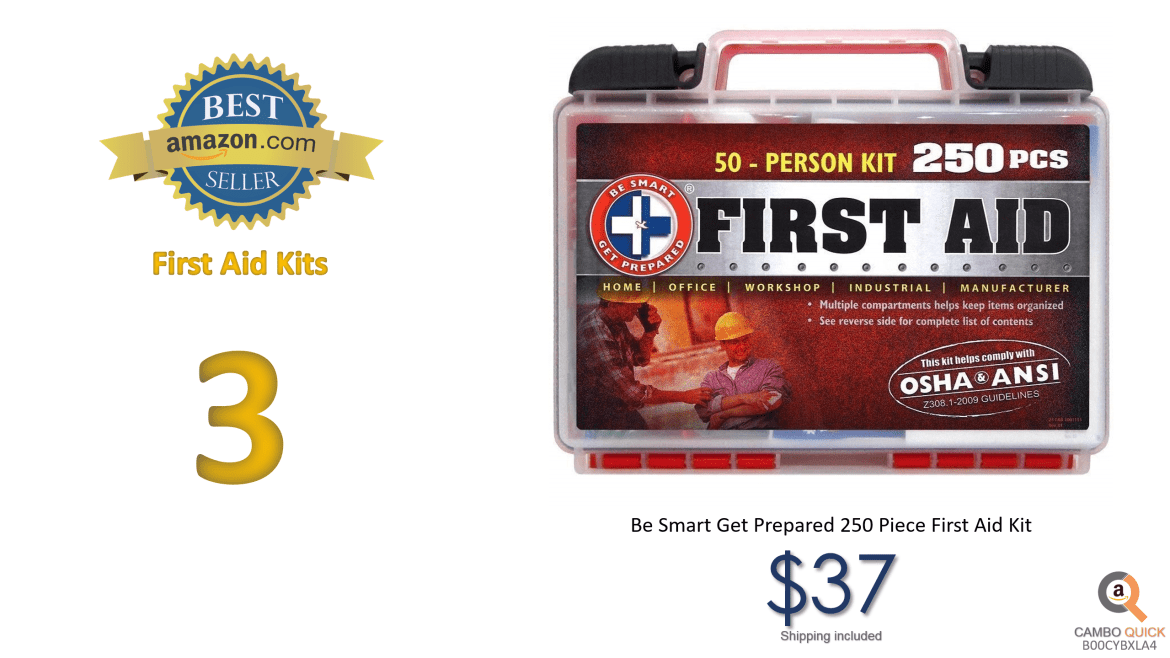 Be Smart Get Prepared 250 Piece First Aid Kit, Clean, Treat and Protect most injuries with the kit that is great for any home, office, vehicle, camping.png