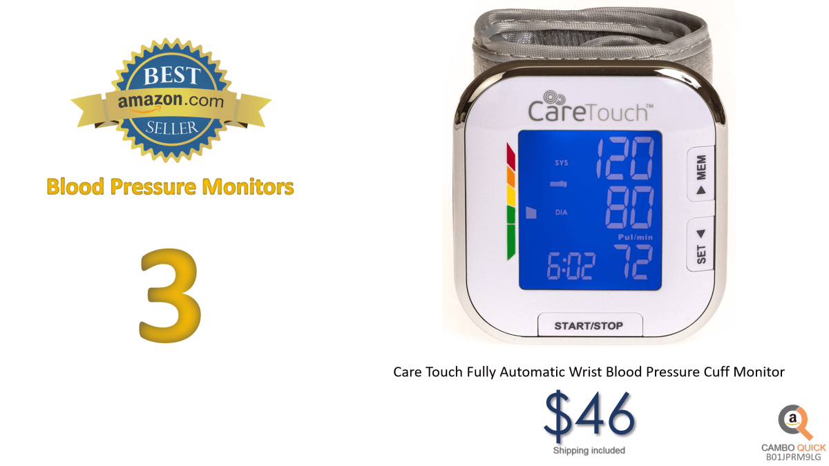 Care Touch Fully Automatic Wrist Blood Pressure Cuff Monitor - Platinum Series, 5.5 - 8.5 Cuff Size- Batteries Included.png